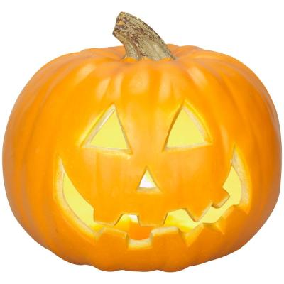9 in. Orange Lighted Blow Mold Jack-O-Lantern Traditional