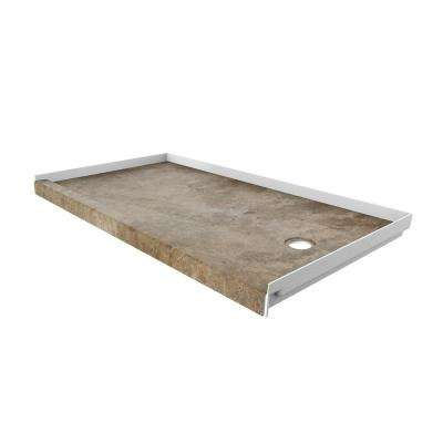 32 in. x 60 in. Single Threshold Shower Base with Right Hand Drain in Mocha Travertine