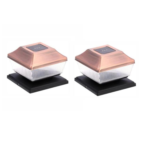 Solar Copper Outdoor Integrated LED Post Cap Deck Light (2-Pack)