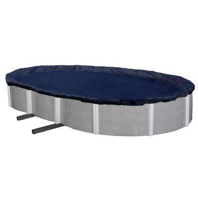 WINTER BLOCK 18 ft. x 33 ft. Oval Blue Above-Ground Winter Pool Cover