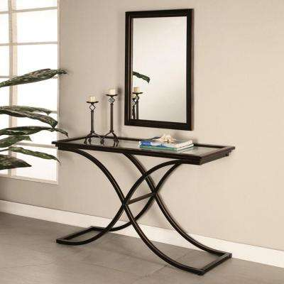 Vogue 22 in. W x 36 in. H Black Metal Console Framed Wall Mirror
