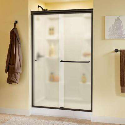Simplicity 48 in. x 70 in. Semi-Frameless Traditional Sliding Shower Door in Bronze with Niebla Glass