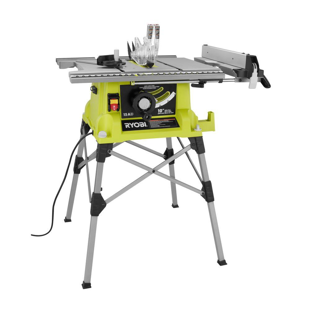 ryobi 10 in portable table saw with quick stand rts21g