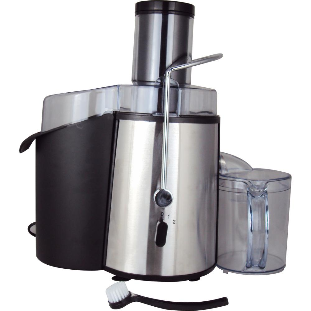 2-Speed Whole Fruit Juice Extractor, Brushed Stainless Steel Body The Courant Whole Fruit Juice Extractor is ideal for anyone who wants to personalize their juice drink recipes and to get more nutrients you need every day. The 750-Watt powerful motor comes with two speeds. The slow speed is for softer fruits and vegetables while the higher speed is for harder fruits and vegetables. Most parts of the juicer is dishwasher safe to save time and make cleaning a breeze. It includes 1.8 l Extra Large Pulp Bin, Cleaning Brush, and Free recipes included. Color: Brushed Stainless Steel Body.