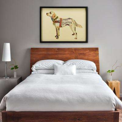 "25 in. x 33 in. ""Yellow Lab"" Dimensional Collage Framed Graphic Art Under Glass Wall Art"