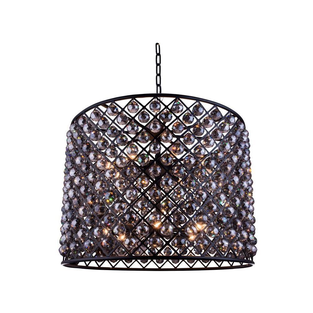 Elegant Lighting Madison 12-Light Mocha Brown Chandelier with Silver Shade Grey Crystal