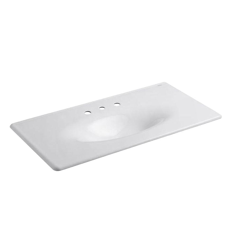 Iron/Impressions 3-Hole 43 in. Vanity Top in White