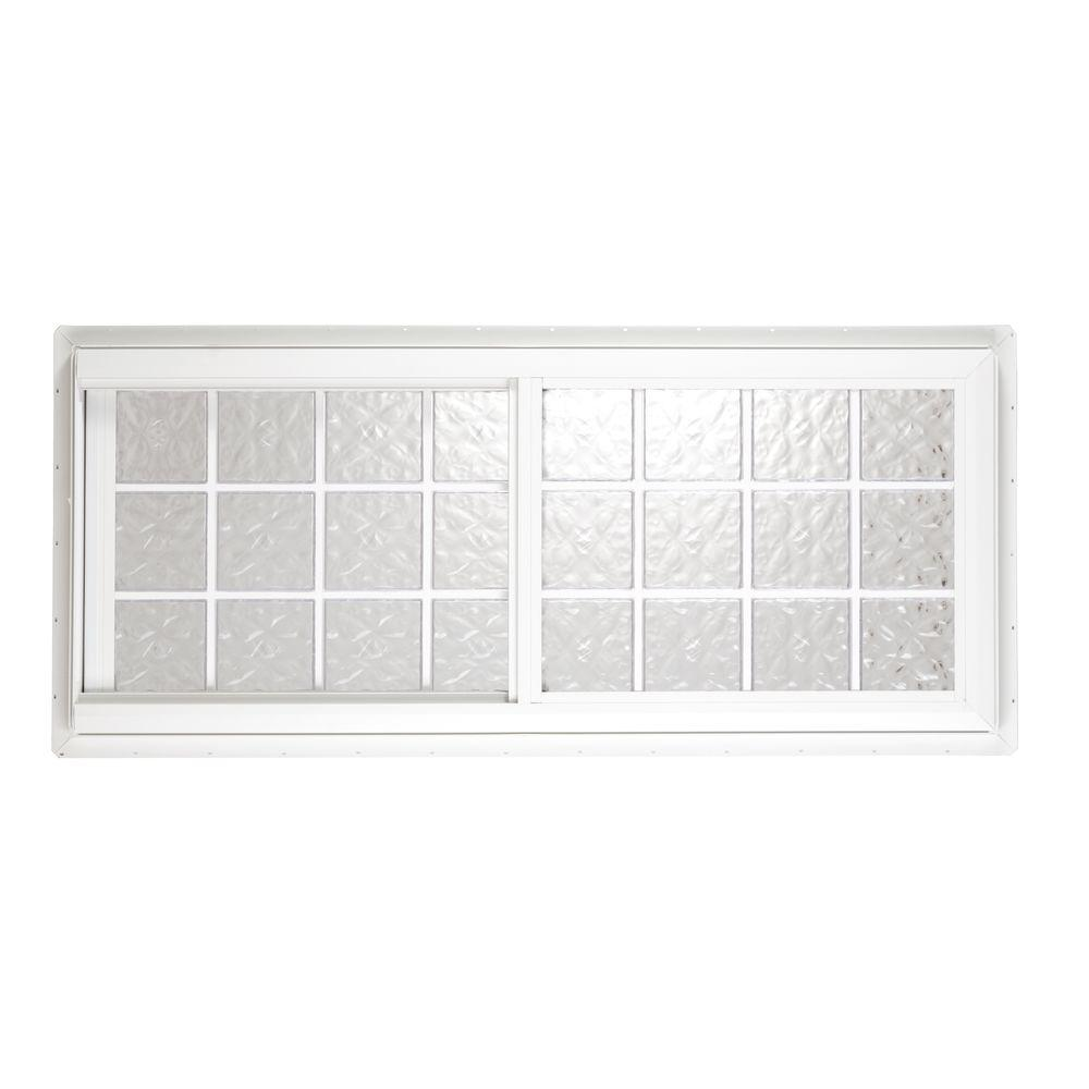 Hy-Lite 39.50 in. x 39.625 in. Glacier Pattern 6 in. Acrylic Block Tan Vinyl Fin Slider Window, Silicone & Screen-DISCONTINUED