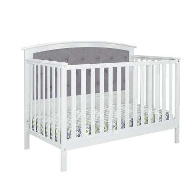 Bentley White Gray Linen Tufted Upholstered Convertible Crib
