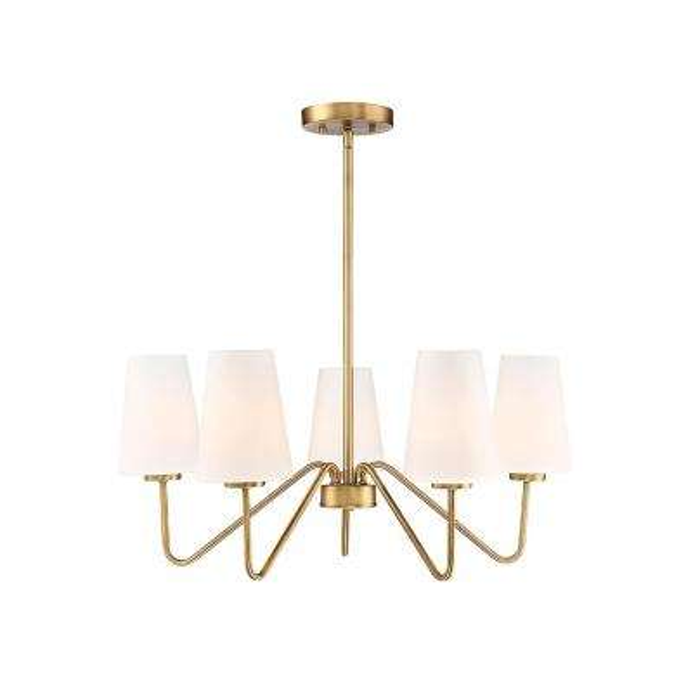 5-Light Natural Brass Chandelier