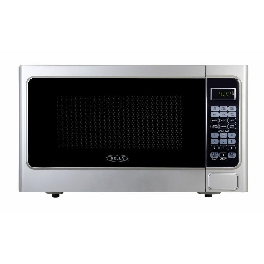 Bella 1.1 cu. ft.1000-Watt Countertop Microwave Oven in Platinum