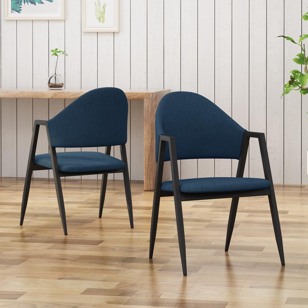 Enjoyable Noble House Elmhurst Mid Century Modern Navy Blue Fabric Inzonedesignstudio Interior Chair Design Inzonedesignstudiocom