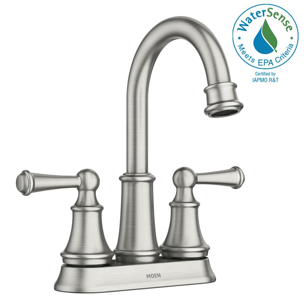 Moen Darcy 4 In Centerset 2 Handle Bathroom Faucet In Spot Resist Brushed Nickel Ws84550srn