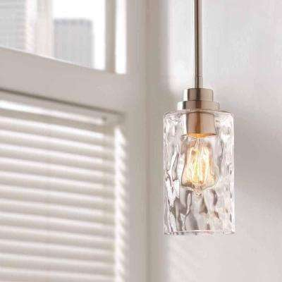 1-Light Brushed Nickel Mini-Pendant with Clear Hammered Glass