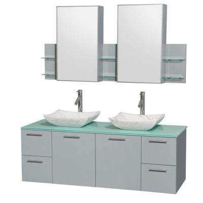 Amare 60 in. W x 22.25 in. D Vanity in Dove Gray with Glass Vanity Top in Green with White Basins and Cabinet Mirrors