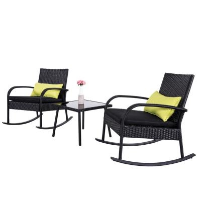 Mala Brown Wicker Outdoor Rocking Chairs and Table with Black Cushions