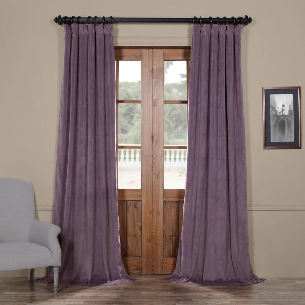 Exclusive Fabrics & Furnishings Blackout Signature Fresh Violet Purple Blackout Velvet Curtain - 50 in. W x 84 in. L (1 Panel)