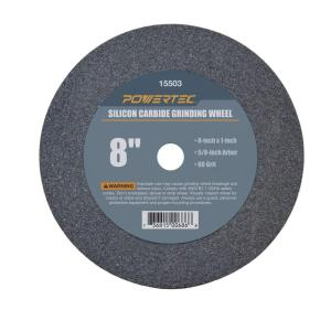 POWERTEC 8 inch x 1 inch x 5/8 inch 60 Grit Silicon Carbide Grinding Wheel by POWERTEC