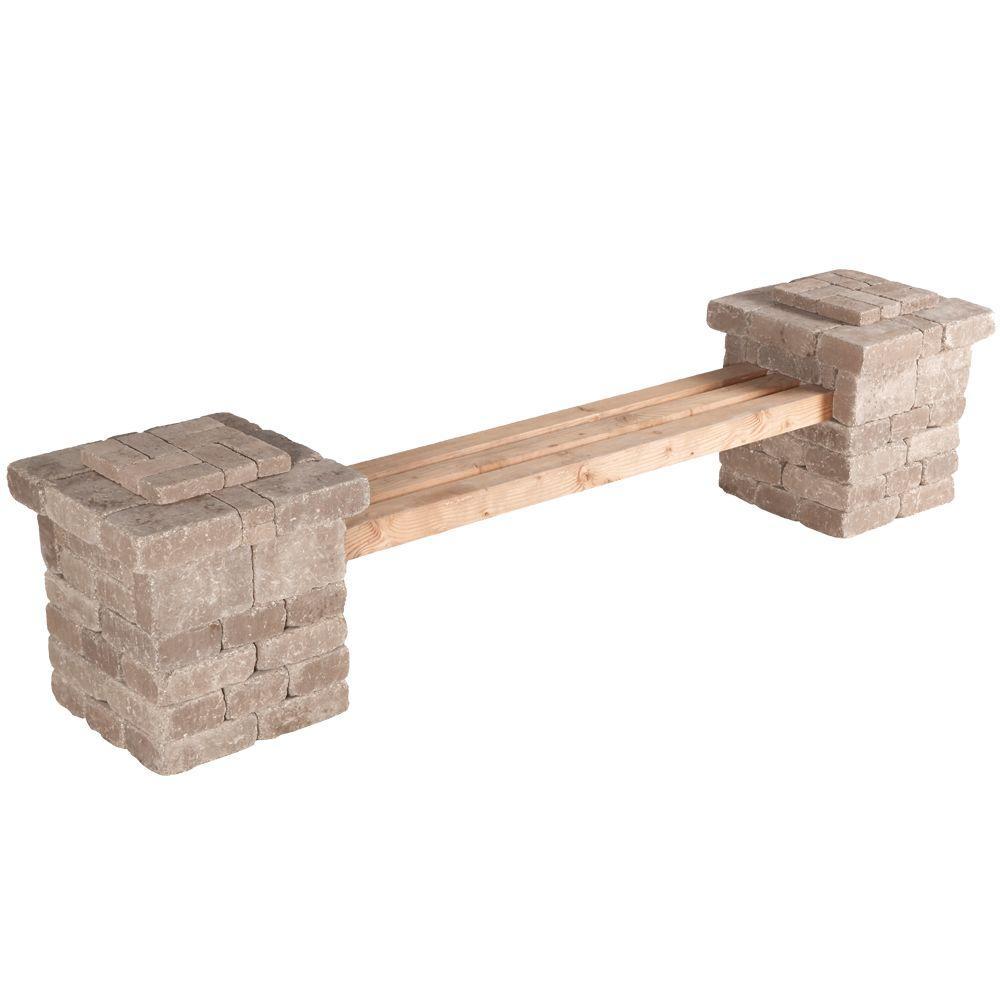 RumbleStone 103.5 in. x 26 in. x 24.5 in. Concrete Garden Bench Kit in Cafe