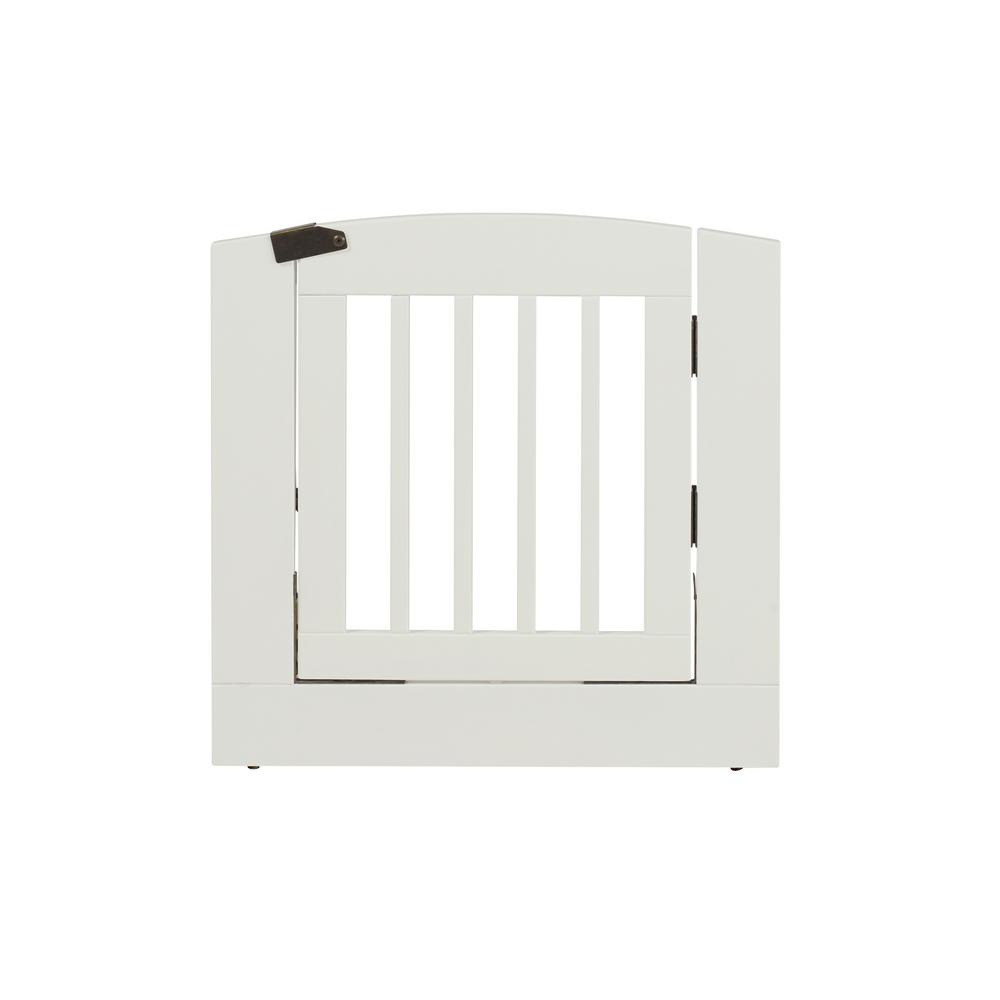 Ruffluv 24 in. H Wood Freestanding Single Panel White Pet Gate