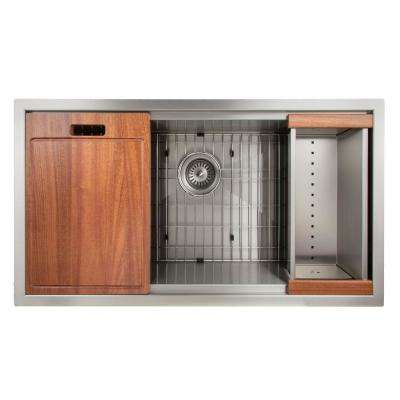 Designer Series 33 in. Undermount Single Bowl Ledge Sink in Stainless Steel with Accessories