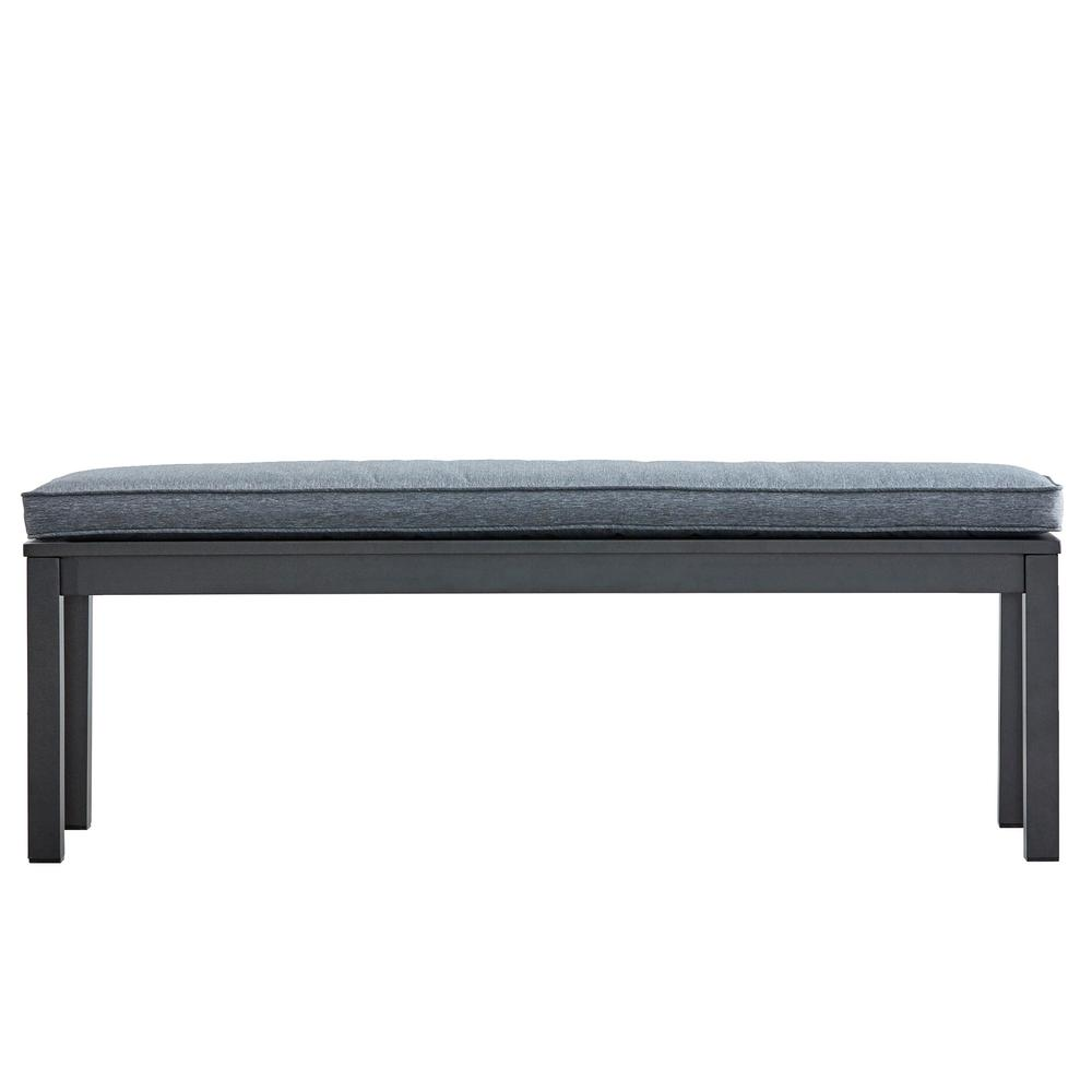 Thoren Aluminum Outdoor Bench with Grey Cushion