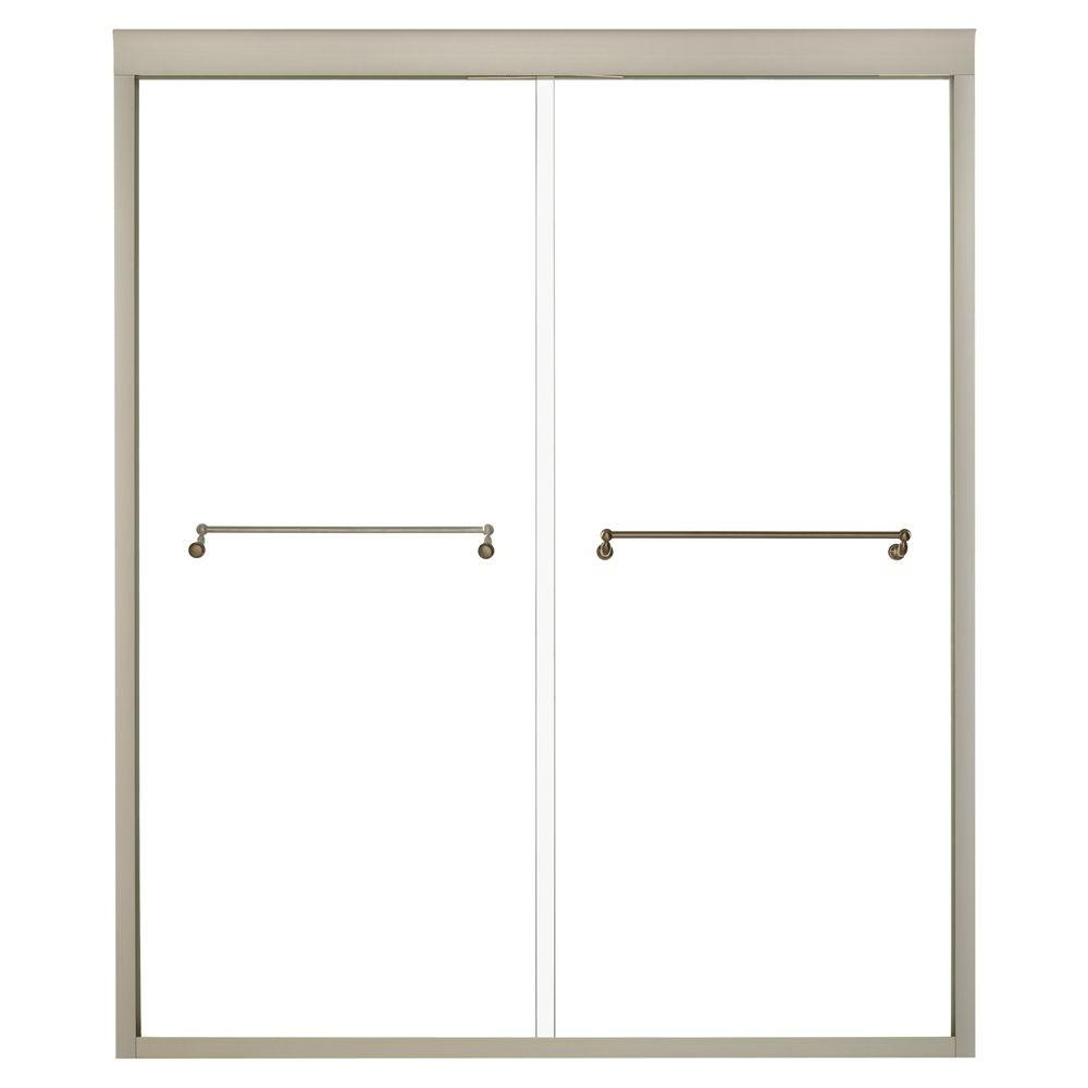 KOHLER Portrait 70-5/16 in. x 56-5/8 59-5/8 in. Frameless Bypass Shower Door in Anodized Brushed Bronze-DISCONTINUED