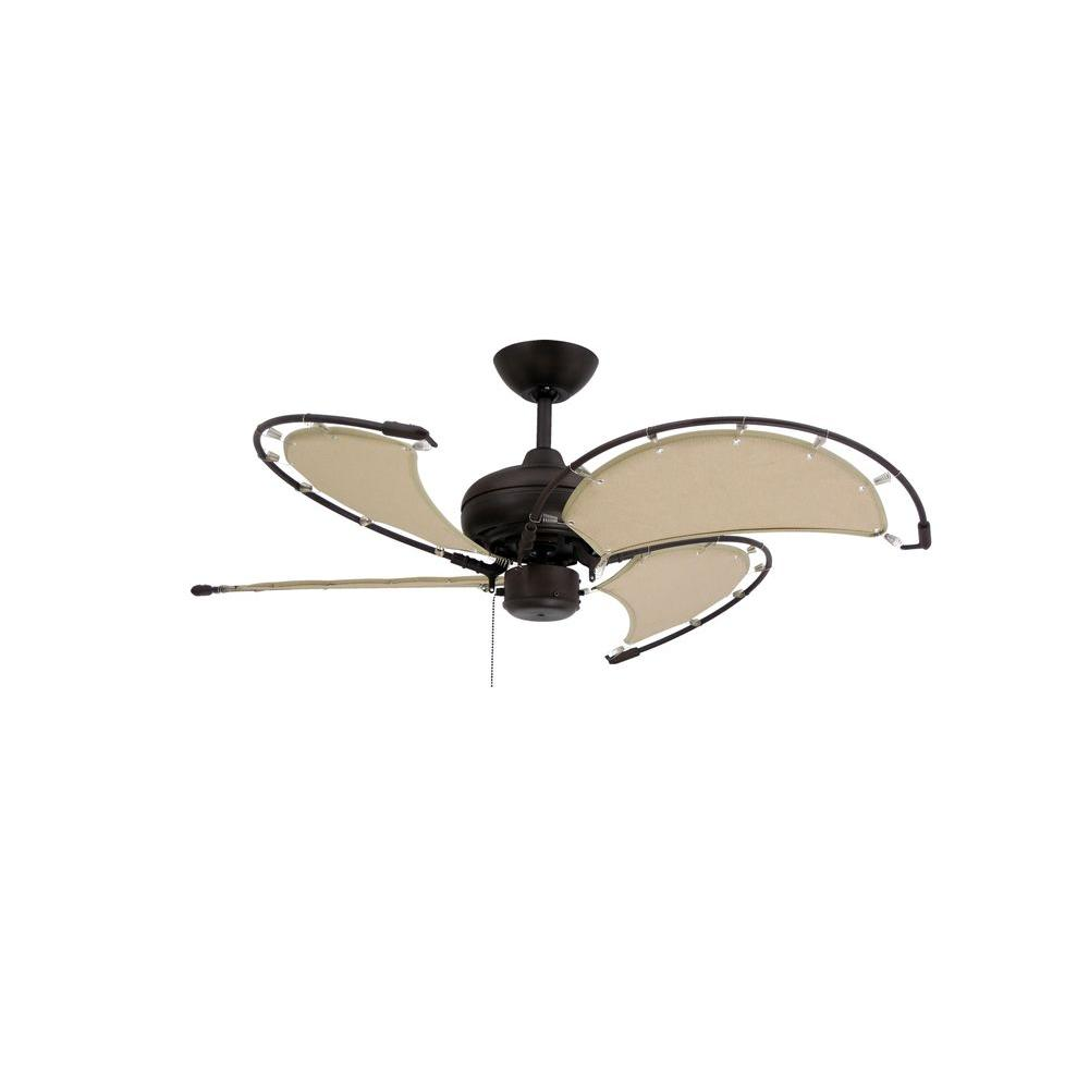 TroposAir Voyage 40 in. Indoor/Outdoor Oil Rubbed Bronze Ceiling Fan with Khaki Fabric Blades