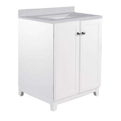 24 in. x 21 in. x 33 in. 2-Door Bath Vanity in White with 4 in. Centerset CM Frost Vanity Top with Basin in White