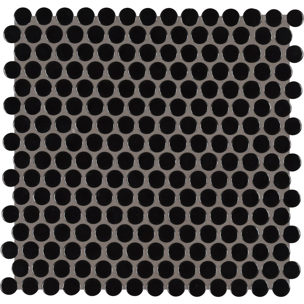 MSI Black Glossy Penny Round 11.57 in. x 12.4 in. x 10mm Porcelain Mesh-Mounted Mosaic Tile (19.93 sq. ft. / case)