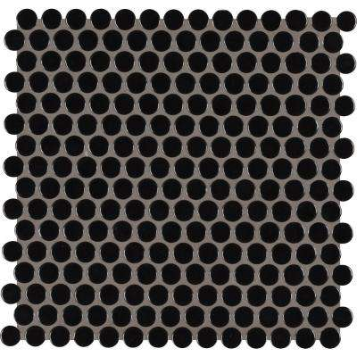 Black Glossy Penny Round 11.57 in. x 12.4 in. x 10 mm Porcelain Mesh-Mounted Mosaic Tile (19.93 sq. ft. / case)
