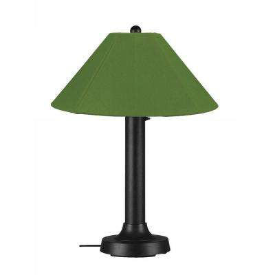 Catalina 34 in. Black Outdoor Table Lamp with Palm Shade