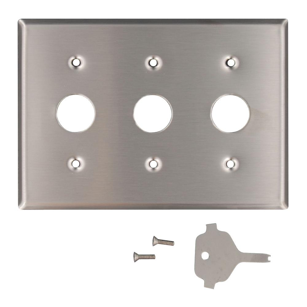 3-Gang Standard Size Key Lock Power Switch Wall Plate with Spanner