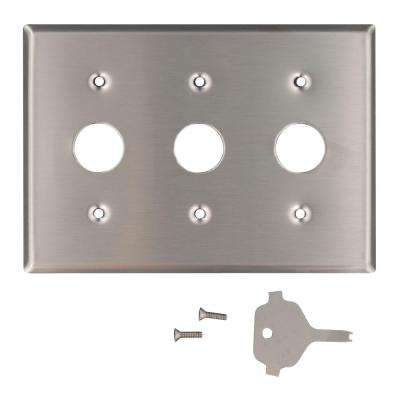 3-Gang Standard Size Key Lock Power Switch Wall Plate with Spanner Screws and Tool, Stainless Steel