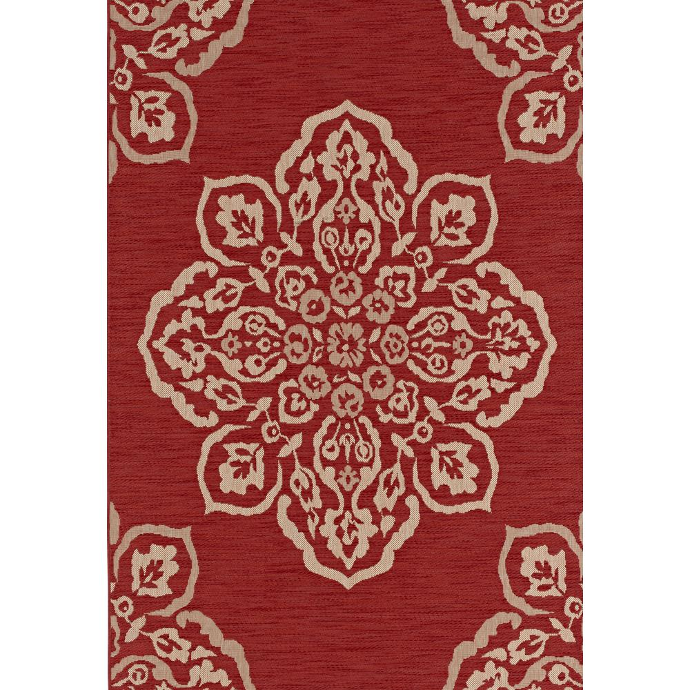 Indoor Outdoor Rugs Home Depot: Hampton Bay Medallion Red 5 Ft. X 7 Ft. Indoor/Outdoor