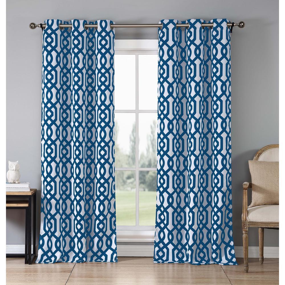 Geometric Orange Polyester Blackout Grommet Window Curtain 38 in. W x 84 in. L (2-Pack)