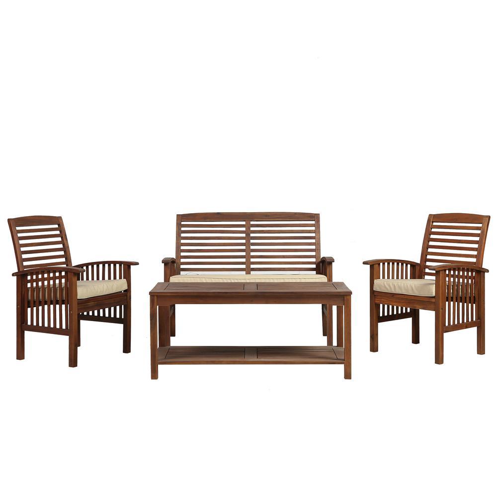 Boardwalk 4 Piece Dark Brown Acacia Outdoor Conversation Set With Cushions