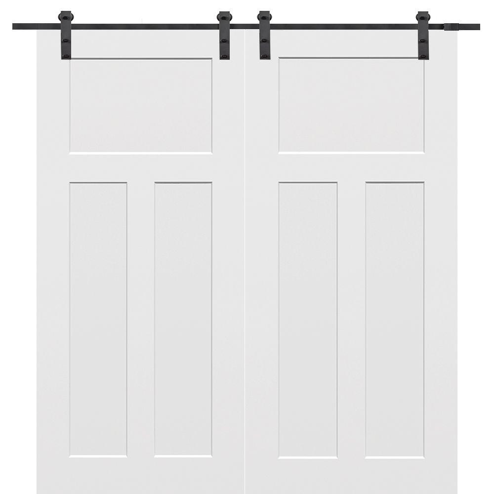 Primed Composite Craftsman Smooth Surface Solid Core Double Barn Door With Sliding Hardware Kit
