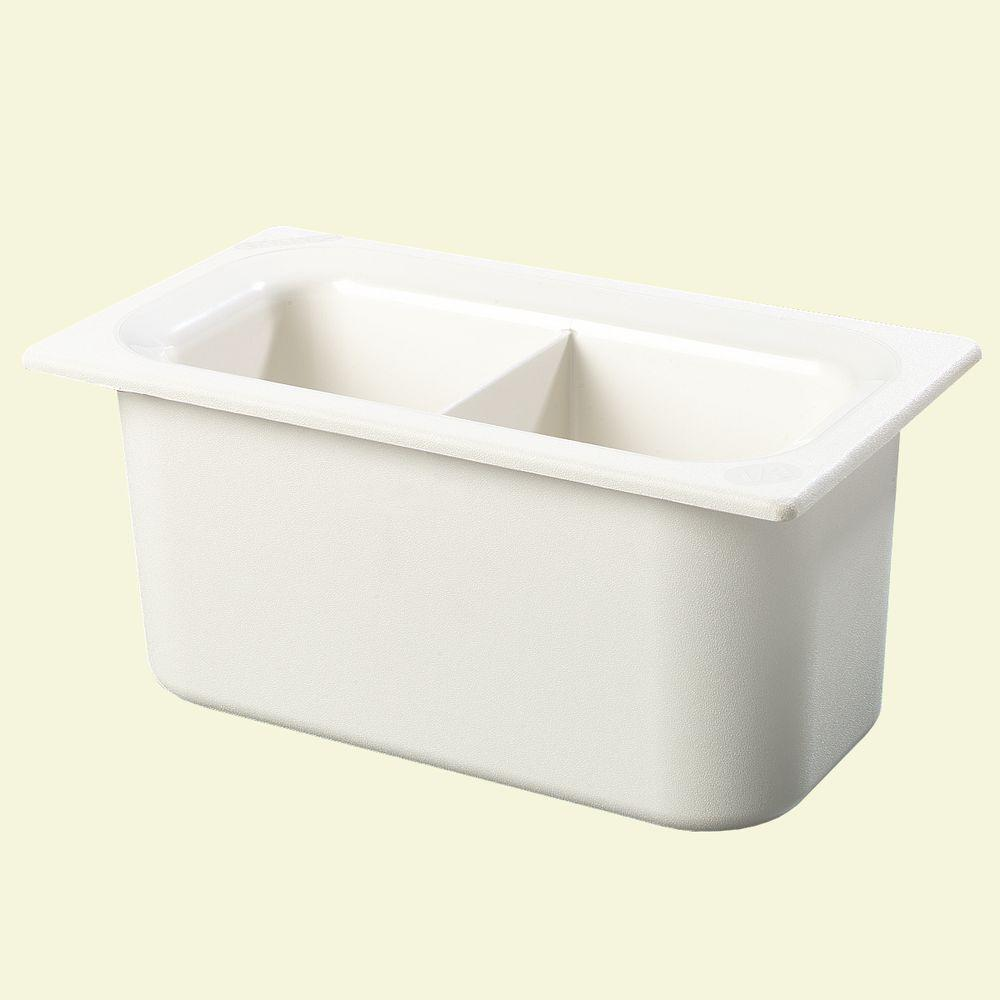 Carlisle Coldmaster 6 in. Third Size Divided Deep White Standard Food Pan