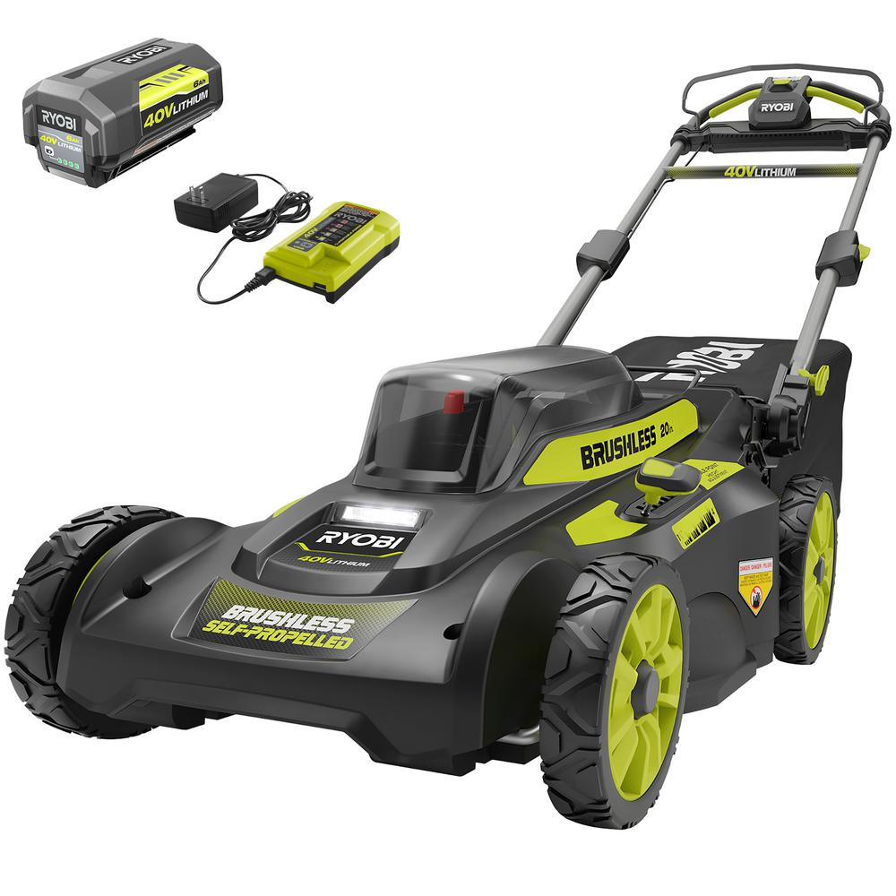 RYOBI 20 in. 40-Volt Lithium-Ion 6.0 Ah Battery Brushless Cordless Walk Behind Self-Propelled Lawn Mower with Charger Included
