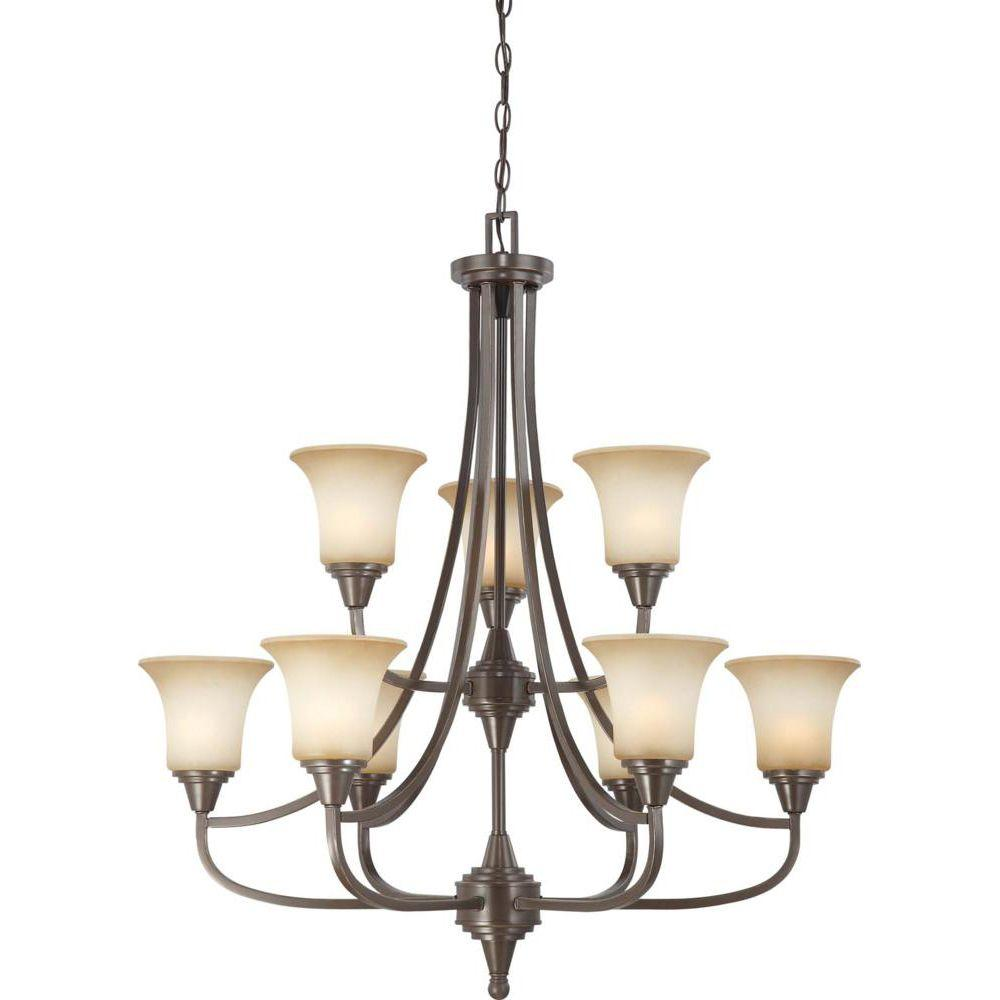 Glomar nickel candle style chandeliers lighting the home 9 light vintage bronze 2 tier chandelier with auburn beige glass shade mozeypictures Choice Image