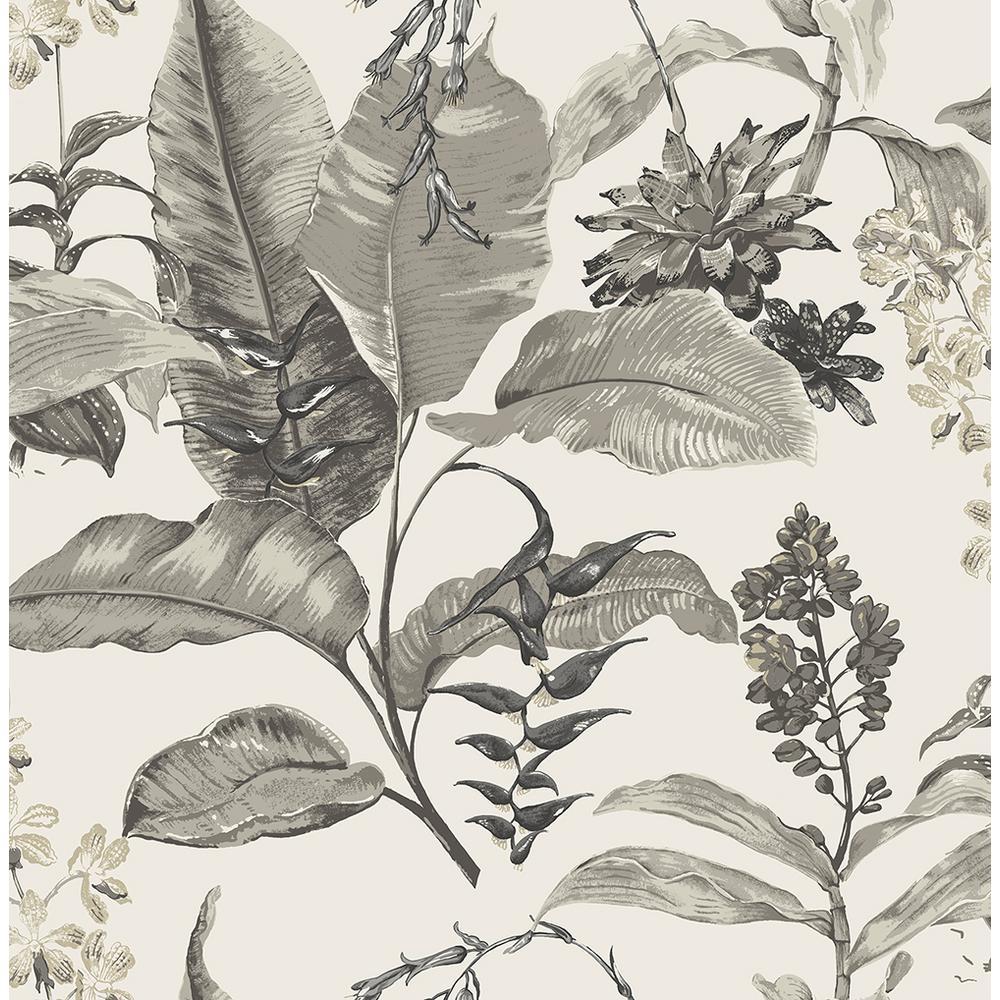 Maui White Botanical Wallpaper Sample