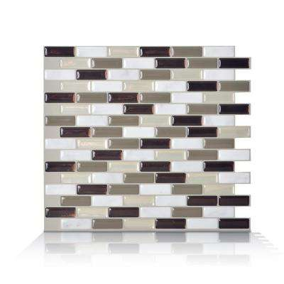 Murano Stone Taupe 10.2 in. W x 9.10 in. H Peel and Stick Self-Adhesive Decorative Mosaic Wall Tile Backsplash (4-Pack)