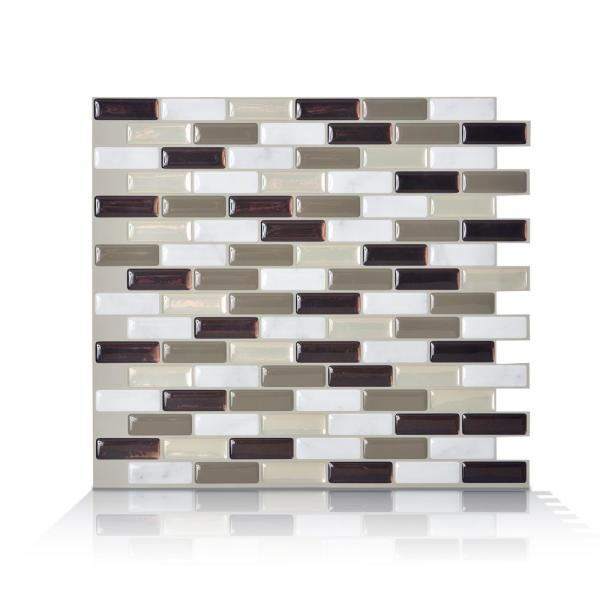 Smart Tiles Murano Stone Taupe 10.2 in. W x 9.10 in. H Peel and Stick Self-Adhesive Decorative Mosaic Wall Tile Backsplash (4-Pack)