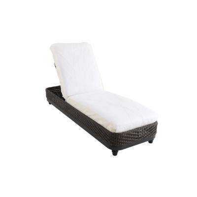Camden Dark Brown Wicker Outdoor Patio Chaise Lounge with Bare Cushions