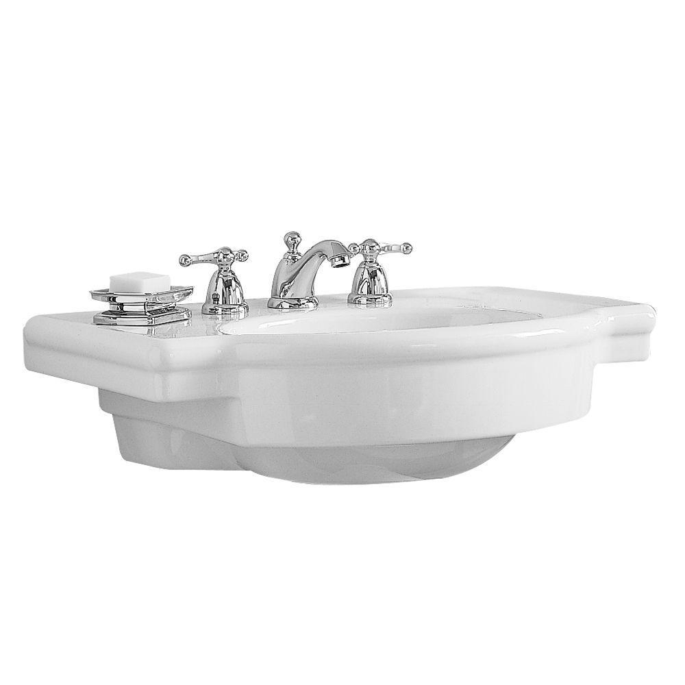 Retrospect 27 in. W Pedestal Sink Basin in White