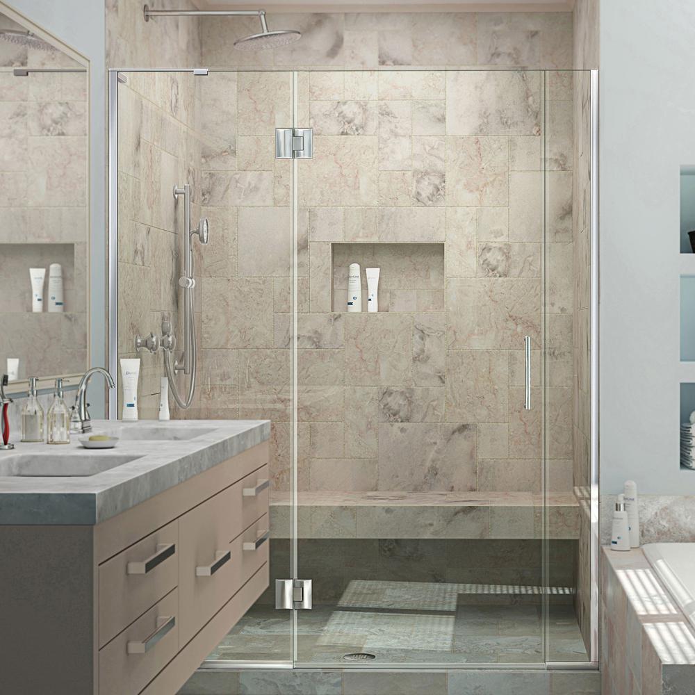 DreamLine Unidoor-X 57-1/2 in. to 58 in. x 72 in. Frameless Hinged Shower Door in Chrome