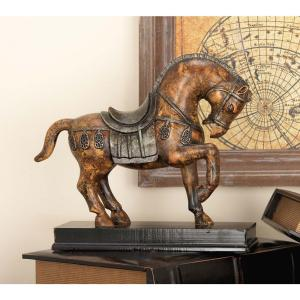 9 inch Tang Horse Decorative Sculpture in Bronze Finished Polystone by
