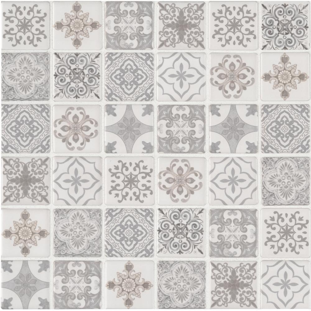 Anya Blanco Encaustic 12 in. x 12 in. x 6mm Glazed Ceramic Mesh-Mounted Mosaic Tile
