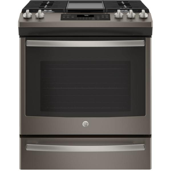 GE 5.6 cu. ft. Slide-In Gas Range with Self-Cleaning Convection Oven in Slate, Fingerprint Resistant